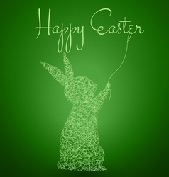 Happy easter green background with rabbit vector