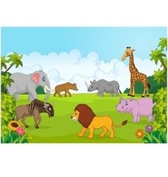 Collection animal africa in the jungle vector