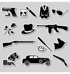 Mafia criminal black symbols and stickers set vector