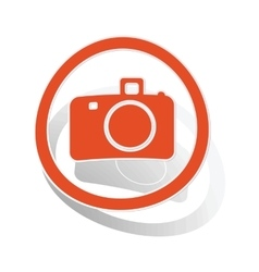 Camera sign sticker orange vector