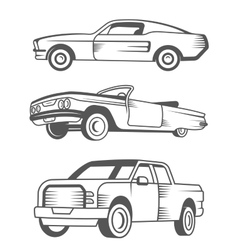 Set of muscle car vintage car and pickup truck vector