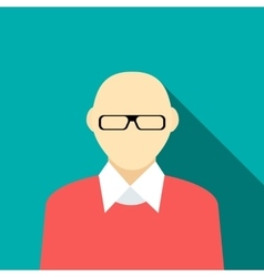 Bald man in a red sweater icon flat style vector
