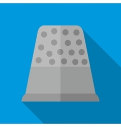 Steel thimble icon flat style vector