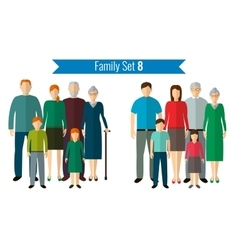 Family icons set traditional culture national vector