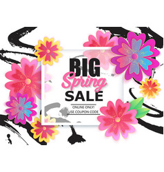 big spring sale banner with colorful flower vector image