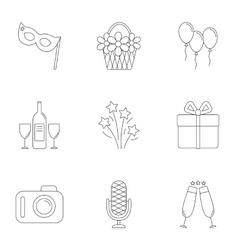 Birthday icons set outline style vector