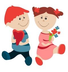 cartoon girl and boy vector image