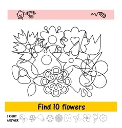 Children s assignment to find ten flowers vector