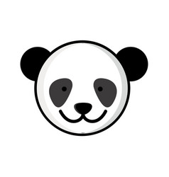 Colorful picture face cute panda animal vector