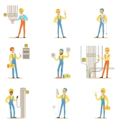 Electrician specialist with electric wires at work vector