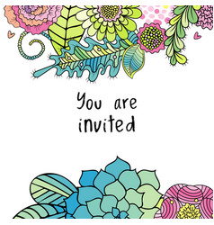 Floral invitation card flowers and leaves vector