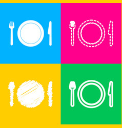 fork plate and knife four styles of icon on four vector image