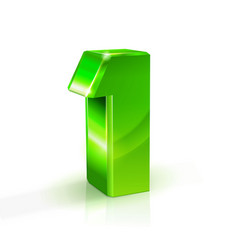 glossy green one 1 number 3d on vector image