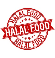 Halal food grunge retro red isolated ribbon stamp vector