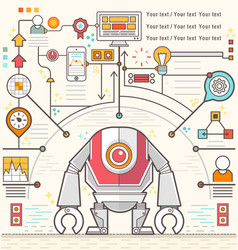 Infographic robot standing confidently of chart vector