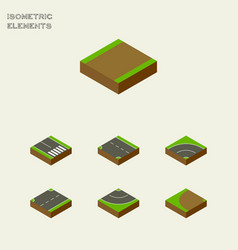 Isometric road set of downward pedestrian vector