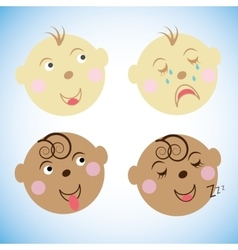 Kids faces childrens emotions vector image vector image