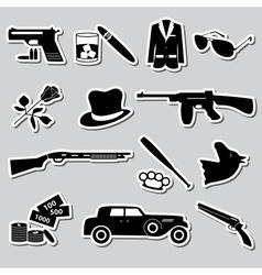 Mafia criminal black symbols and stickers set vector