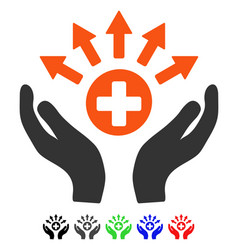 Medical distribution care hands flat icon vector