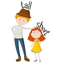 Opposite adjectives tall and short vector image vector image