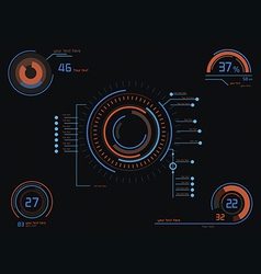 Orange and blue infographics as head-up display vector