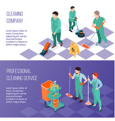 Professional cleaning service isometric banners vector
