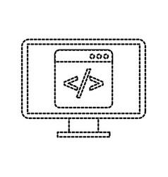 Programming window with script code html computer vector