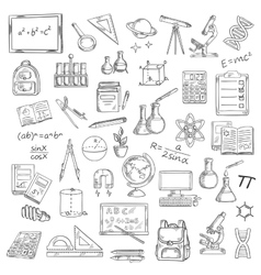 School supplies sketches for education design vector image