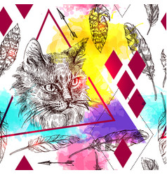 Seamless pattern sketching of cat vector