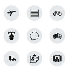 set of 9 editable mixed icons includes symbols vector image vector image
