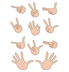 set of gestures hand vector image vector image