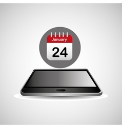 Smartphone black lying aganda calendar icon design vector