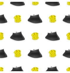Yellow coins pattern money wallet vector