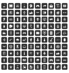 100 robot icons set black vector