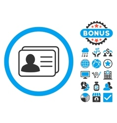 Account cards flat icon with bonus vector