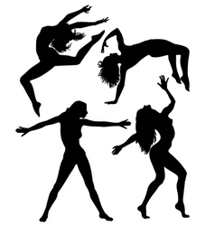 Silhouettes girls vector
