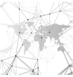 black world map with chemistry pattern connecting vector image