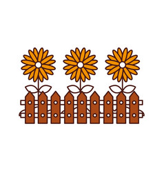 Fence wooden with flowers vector
