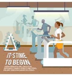 People on treadmills fitness poster vector