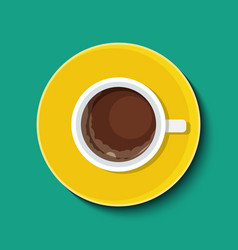 Cup with coffee in flat style top view vector