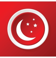 Crescent moon icon on red vector image