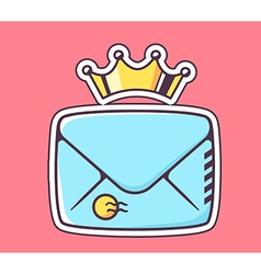 Closed blue envelope with crown on red ba vector