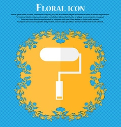 Paint roller sign icon painting tool symbol floral vector