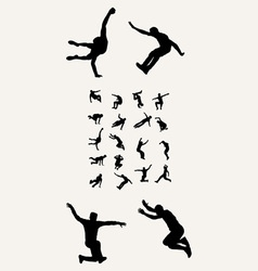 Parkour tricking silhouettres vector