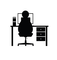 Computer with man vector