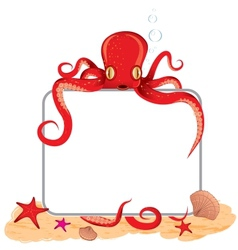 Octopus holding a sign vector
