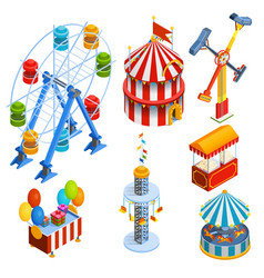 Amusement Park Isometric Decorative Icons vector image