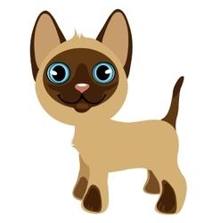 Cute cartoon standing kitten with blue eyes vector