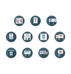 Ads and promotion icons round flat icons vector
