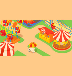 amusement park concept cartoon style vector image